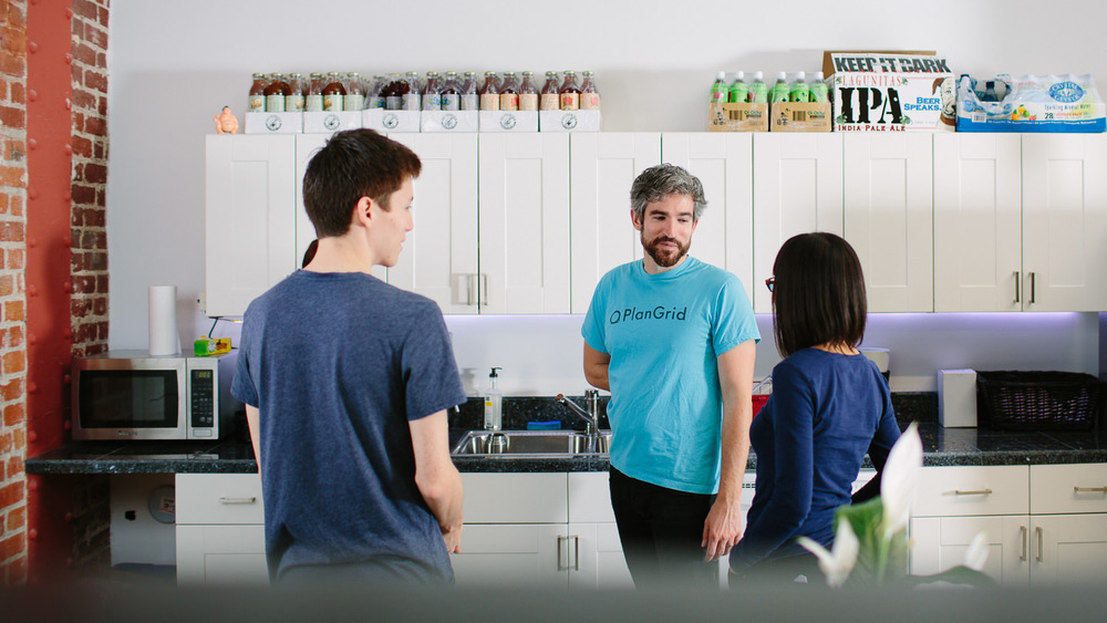 At PlanGrid, they're thirsty: Co-founder Ralph Gootee reminds colleagues that the dishes are everyone's responsibility.