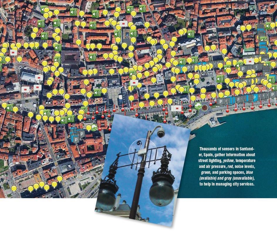 Myriad sensors in Santander, Spain, gather data about street lighting, yellow; temperature and air pressure, red; noise levels, green; and parking spaces, blue (available) and gray (unavailable); to help manage city services.