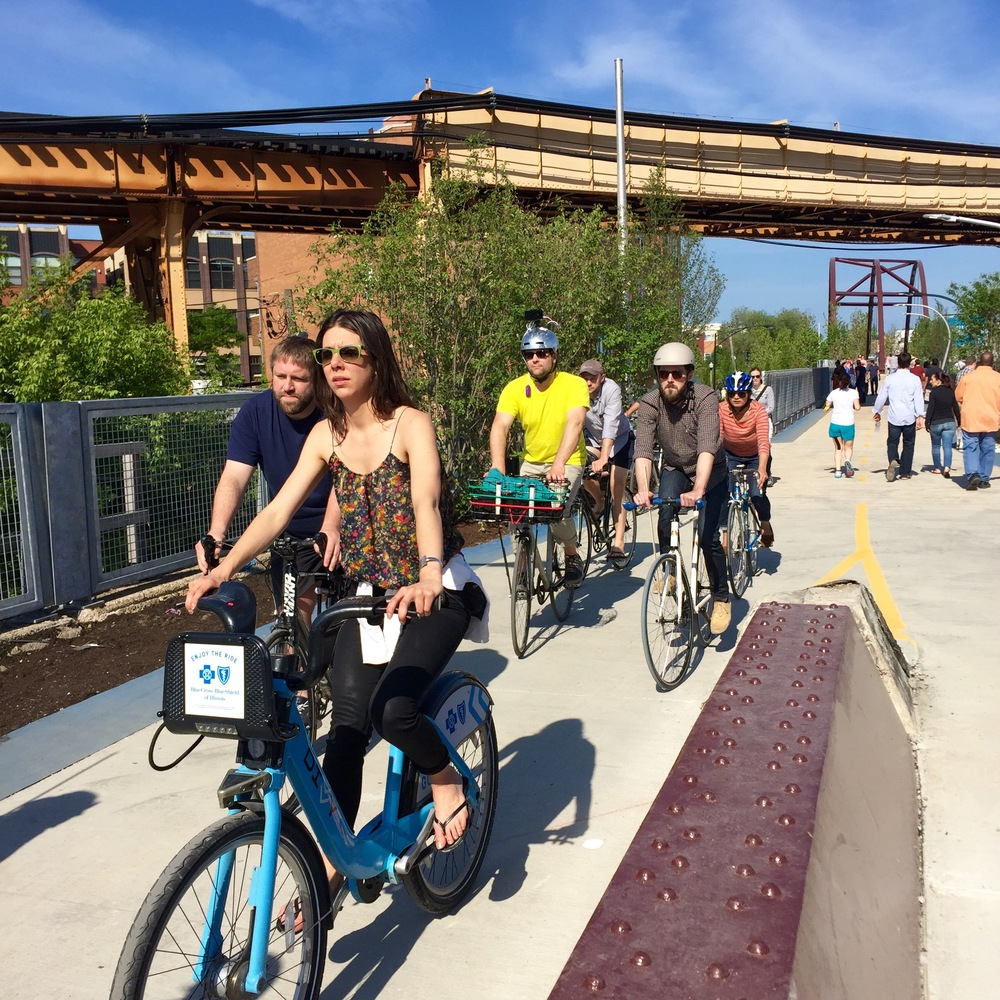 D4E: Divvy is everywhere now, above on Chicago's new elevated urban trail,'The 606', which opened June 6.
