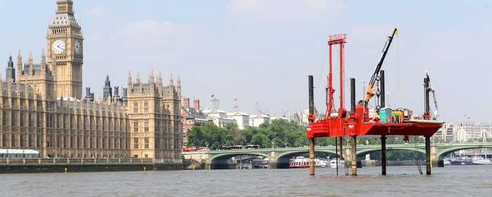 No Small Plan: The Tideway Tunnel will run 25 km along the Thames River and intercept 34 combined sewer overflows. Expected to break ground next year, the controversial project will take until 2023 to complete. (Photo: WWTOnline)