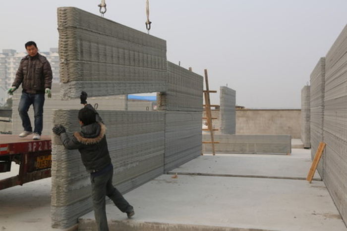 WinSun Global: Yingchuang Construction Technique (Shanghai) Co., Ltd., last year used 3D-printing technology to construct 10houses in under 24 hours. Below,the company then built the world's tallest 3D printed structure – a five-story apartment building with eight units. Earlier this year, it also finisheda 1,100-sq-m stylized mansion. (Top)