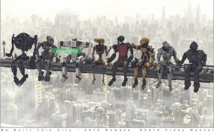 Future lunch atop a skyscraper: OSHA would still have a field day with this crew, as imagined by artist Fredy Wenzel.
