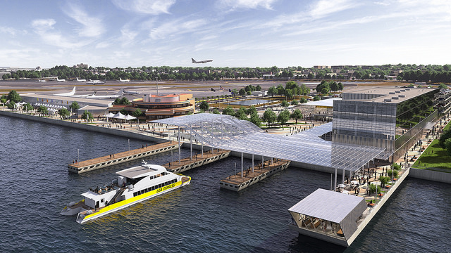 Multimodal plans call for a 'high-speed' ferry, to and from LGA, in and out of the historic Marine Air Terminal.