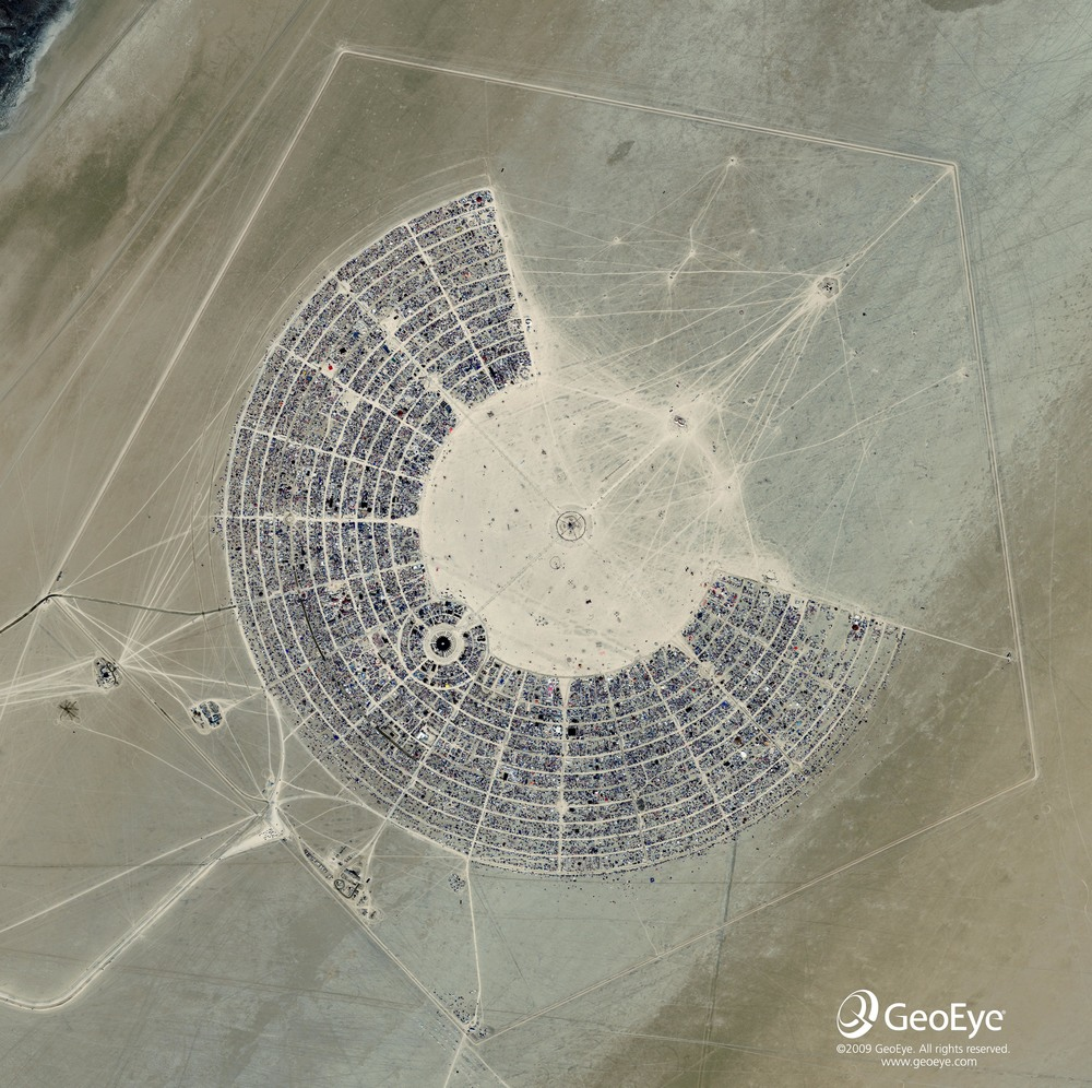 Full circle. Black Rock City during Burning Man, 2014.