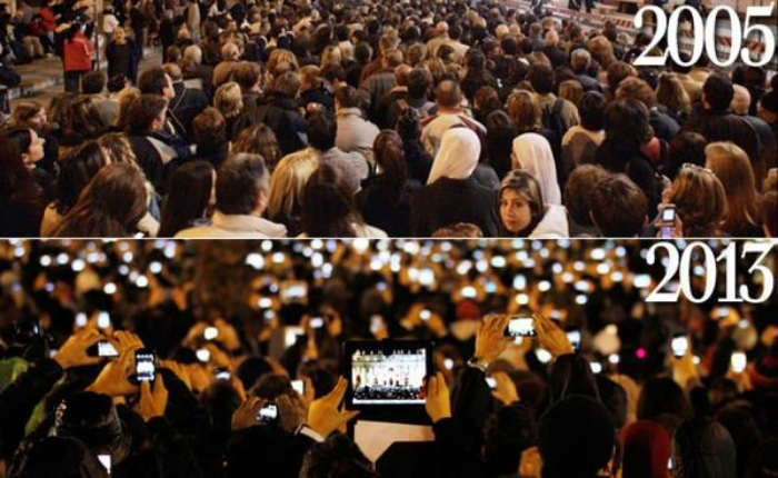 Pope to Pope: Scopano's presentation included this eye-popping tech snapshot from St. Peter's Square in Vatican City. At top is the assemblage for Pope Benedict's installation. At bottom, Pope Francis was greeted by a sea of devices.