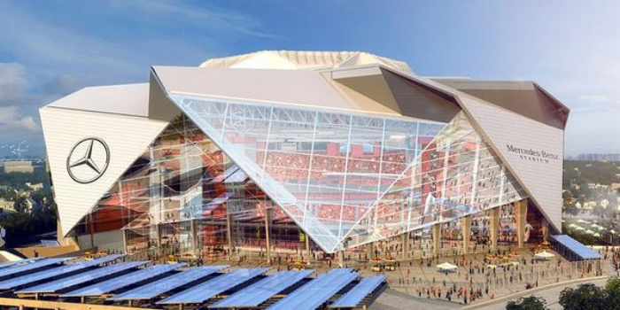 Paying the bills: Set to open in 2017, Atlanta's new football stadium last month sold naming rights to Mercedes-Benz.