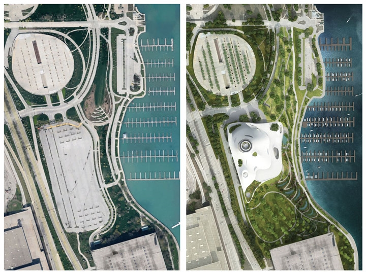 Greener bay: Stadium parking lot (left) would give way to museum and considerable green space. The site also lies just north and east of the sprawling McCormick Place Convention Center complex. So, where will museum-goers park?