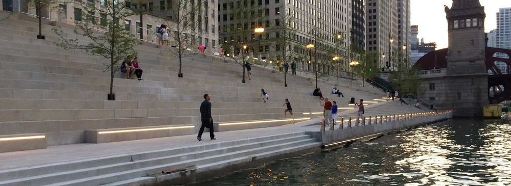 Chicago Riverwalk, designed by Ross Barney Architects, created a new waterfront civic space for downtown.