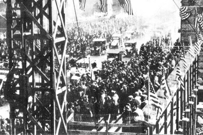 Chicago, Nov. 11, 1918: Perhaps the first parade ever to cross the Michigan Ave. Bridge, 97 years ago today.