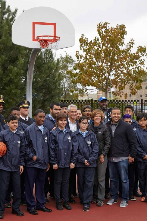 Hoop dreams: Gang joined Mayor Emmanuel this fall for opening of new community court.