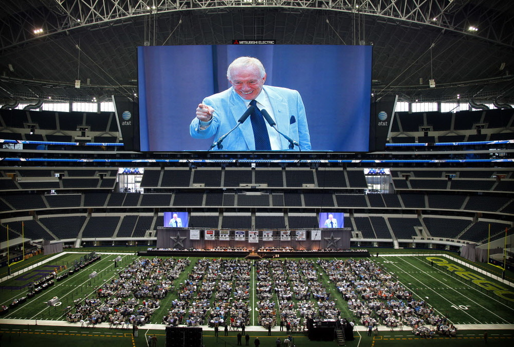 Texas giants: Cowboys owner Jerry Jones launched a scoreboard space race across the NFL with this massive screen.