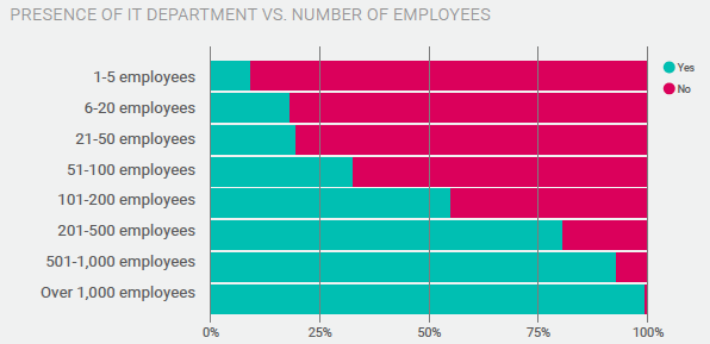 Taking the plunge: Incredibly, most firms with between 50-200 employees still don't have IT departments. (JBK)