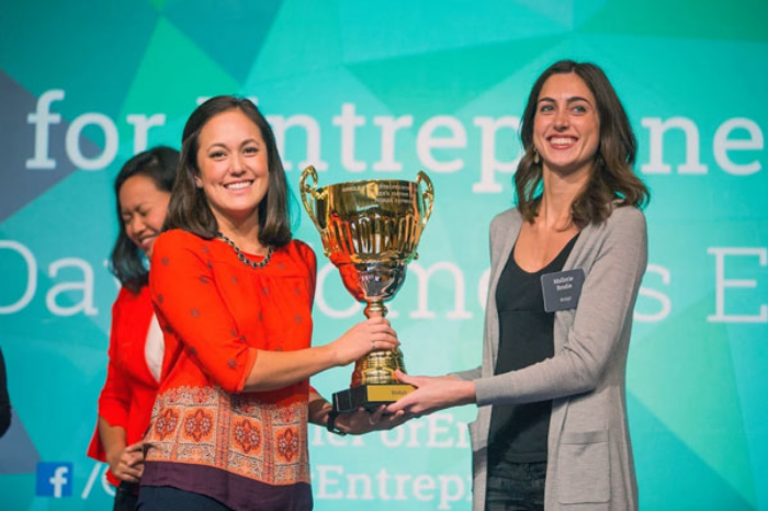 And the winner is... Bridgit co-founders Lake (left) and Brodie were all smiles in San Francisco last week.