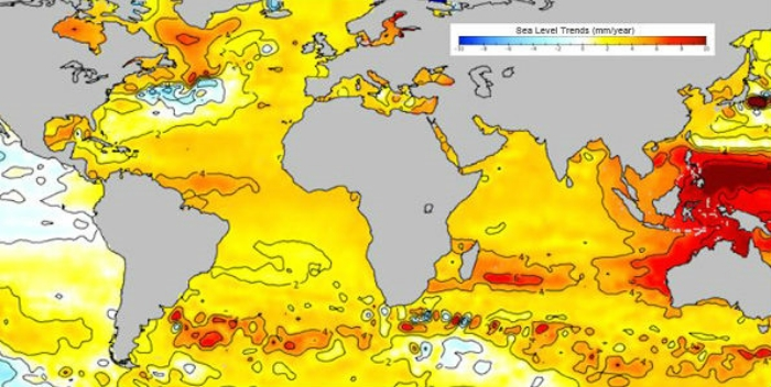 New map app: Ice and sea level trends, 1955-2012, tracked by the application Polar Explorer: Sea Level.
