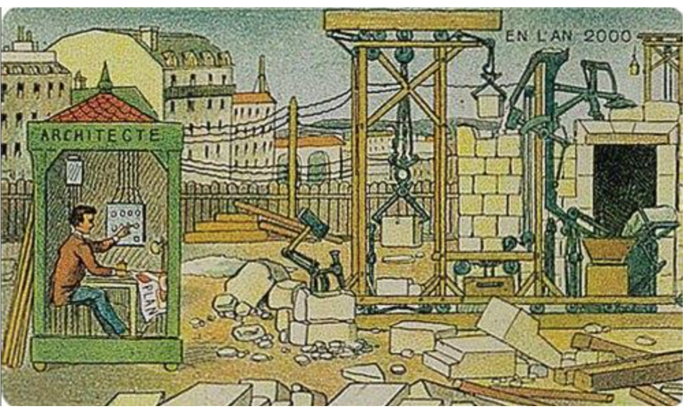 L'architecte and his robots:In 1910, French artist Villemardenvisioned life and automated work in the year 2000.
