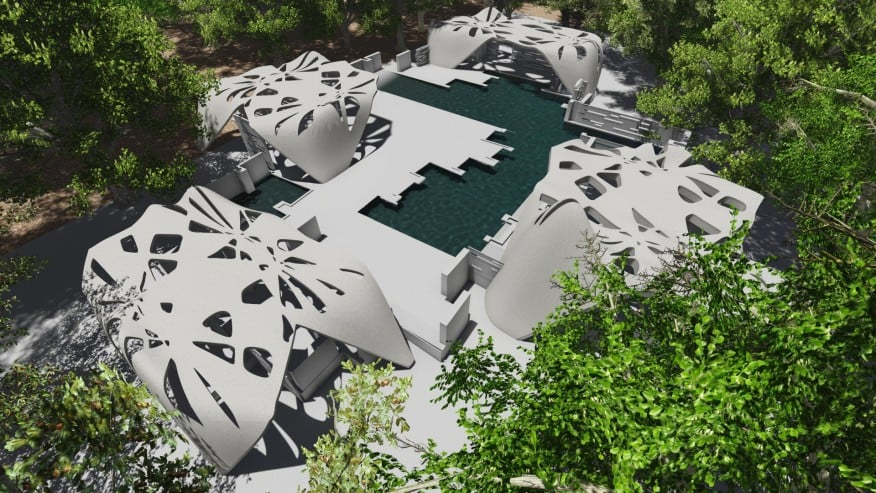 Kushner-Dini collaboration aims to make real this aerial rendering of a proposed 3D-printed estate in Gardiner NY.