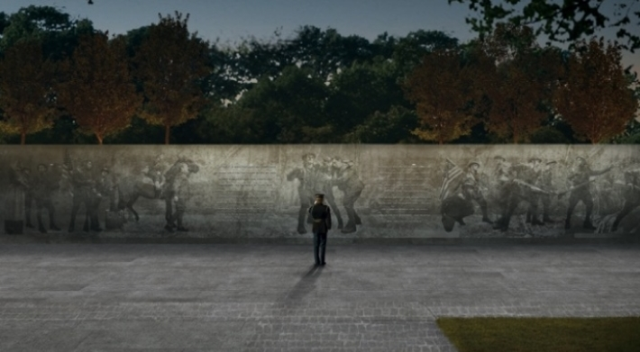 Weight of Sacrifice: The winning entry re-purposes existing Pershing Park with an 81-ft.-long bronze bas-relief sculpture that interfaces with a pair of bronze walls inscribed with poignant quotes about The Great War.