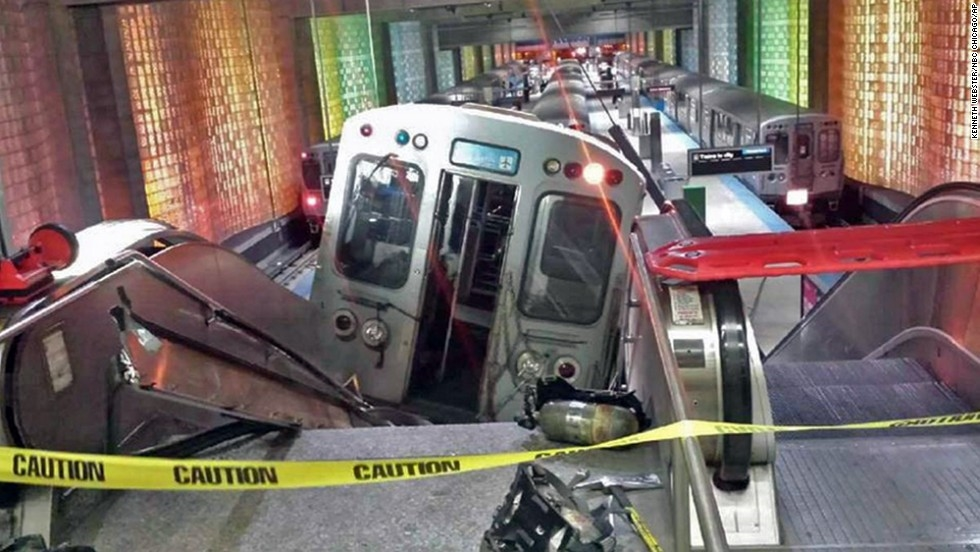 Uphill climb: In April 2014, this CTA train actually jumped onto the UP escalator at O'Hare. Luckily, no one was hurt, but commuters still are searching for faster delivery times from downtown to one of the nation's busiest airports.