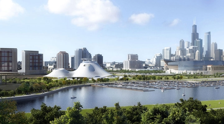 """Not the site you're looking for?"" The futuristic Lucas Museum's proposed prime location would conveniently put it near both Soldier Field (at right) and the McCormick Place Convention Center. The design and lakeside site have drawn both criticism and a legal challenge, respectively. Now, the owner may take the project ""far, far away."""