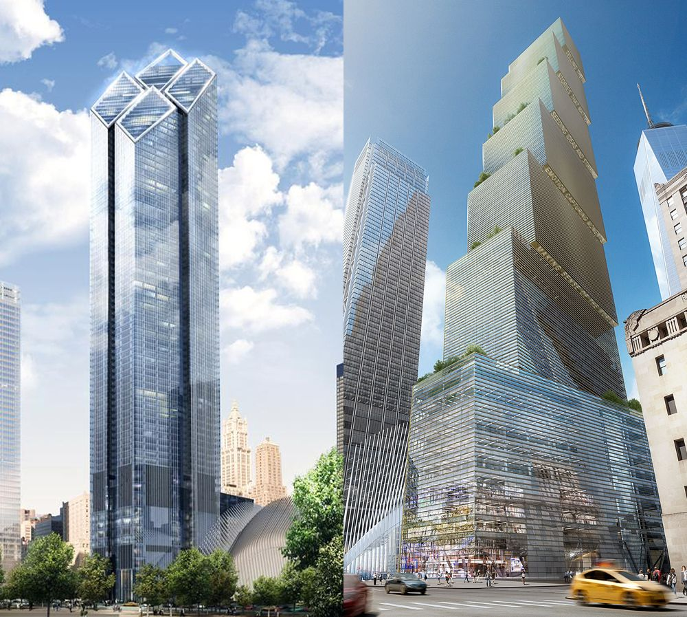 Two visions of 2WTC: At left, Sir Norman Foster's plan for the site eventually gave way to BIG's staggered greenery.