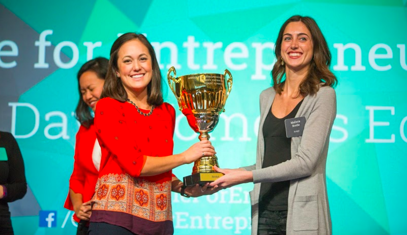 All hail! Less than 100 days ago in Silicon Valley, Bridgit cofounders Lauren Lake (left) and Mallorie Brodie bested 450 international competitors to win Google's Entrepreneurs Demo Day - Women's Edition.