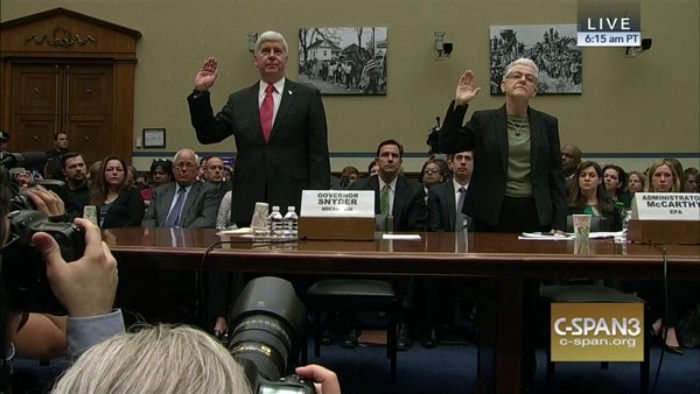 All downhill: Mich. Gov. Rick Snyder and USEPA Administrator Gina McCarthy on March 17 testified before the U.S. House of Representatives' Oversight and Government Reform Committee. For video highlights, click here.
