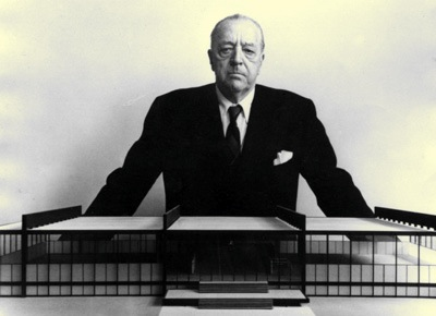 Granddaddy of it all: Mies models IIT's Crown Hall.