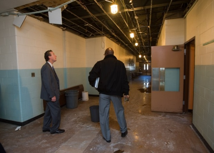 Gary, Indiana: Federal inspectors tour a typical school in disrepair in one of the nation's poorest cities.
