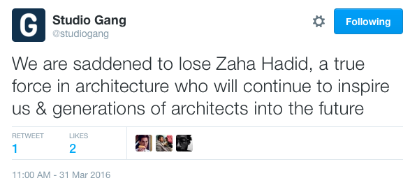 Architect Jeanne Gang weighed in via Twitter.