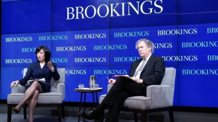 Brookings on Technology: CTI founder Darrell West (right) takes questions with USPTO director Michelle Lee.