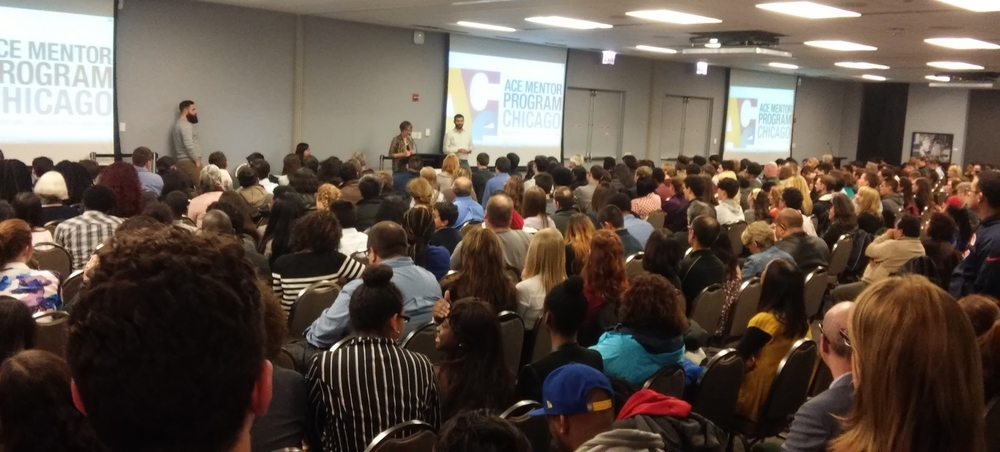 Packed house: ACE Mentor Chicago's finals last week drew hundreds of students, teachers, mentors, and parents.