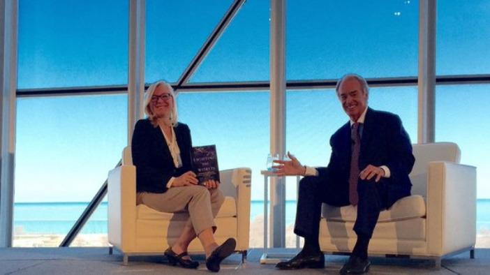 Blue sky, high hopes: Luncheon keynote Q&A paired Katherine Hamilton (left) with energy evangelist Jim Rogers.