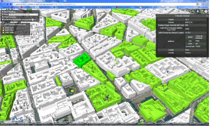 Mapping Paris 'live': Smart 3D dashboard of Paris, a streaming map created by CC3D and the digit group.
