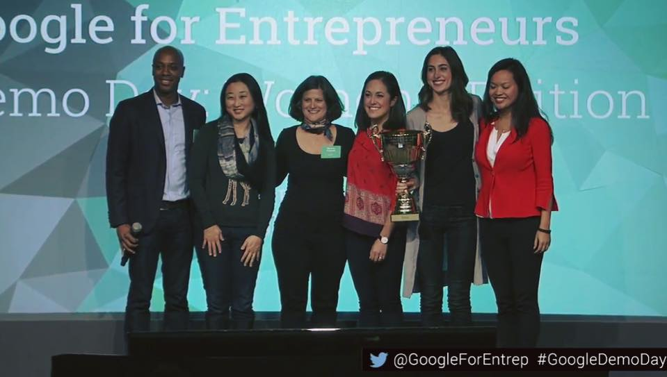 """Early Christmas:In December, Bridgit cofoundersLauren Lake(red, center) and Mallorie Brodie (w/trophy) """"closed out"""" a crowded field to capture the coveted cup for Google's Entrepreneurs Demo Day - Women's Edition!"""