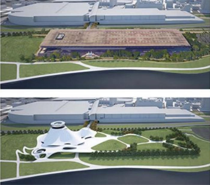 Bucking convention: McCormick Place East (top) could be replaced by new Lucas Museum.