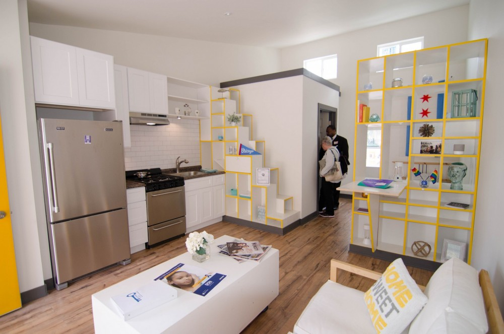 Close comfort:Interior view of the 'Tiny Home' winner.