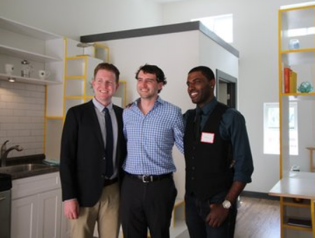 AIA Tiny Winners: From left, Stousland, Sandberg and Howell pose inside the prototype of their design.