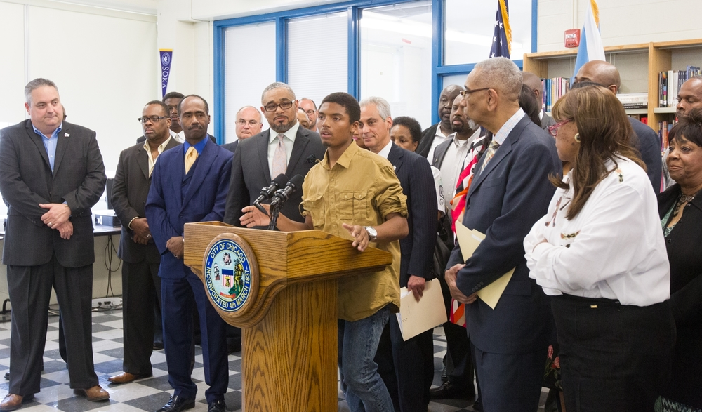 Offering opportunities: Last month, Chicago Mayor Emanuel, union leaders, and students joined in the announcement.