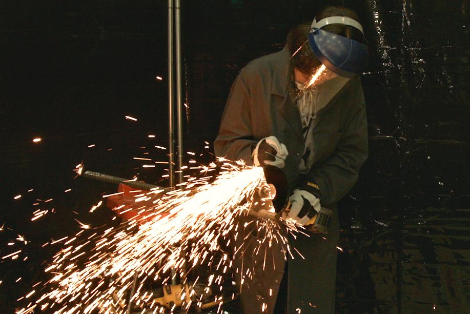 Sparks were flying between BuiltWorlds's Alexis Chastain and DEWALT's FlexVolt-powered grinder.