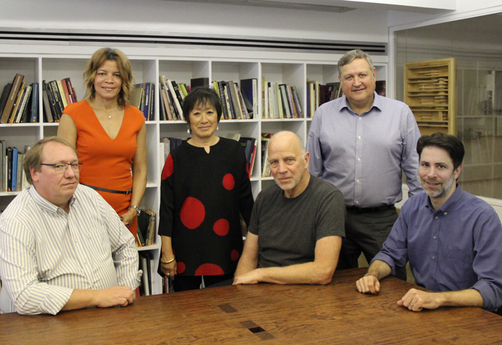 Teammates (l to r): IDEA's Charlie Young & Dina Griffin; TWBTA's Billie Tsien & Tod Williams; Bob Larsen, IDEA; and Paul Schulhof, TWBTA. The group will get to know each other very well over the next decade.