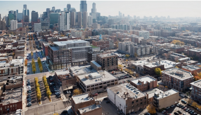 Gensler rendering shows how the new McDonald's headquarters (left of center) will fit into the city's West Loop area.