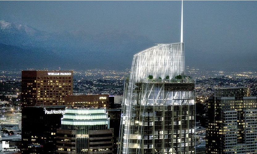 Wilshire Grand, at 73 stories, will be the tallest tower West of the Mississippi when it opens next spring. (AC Martin)