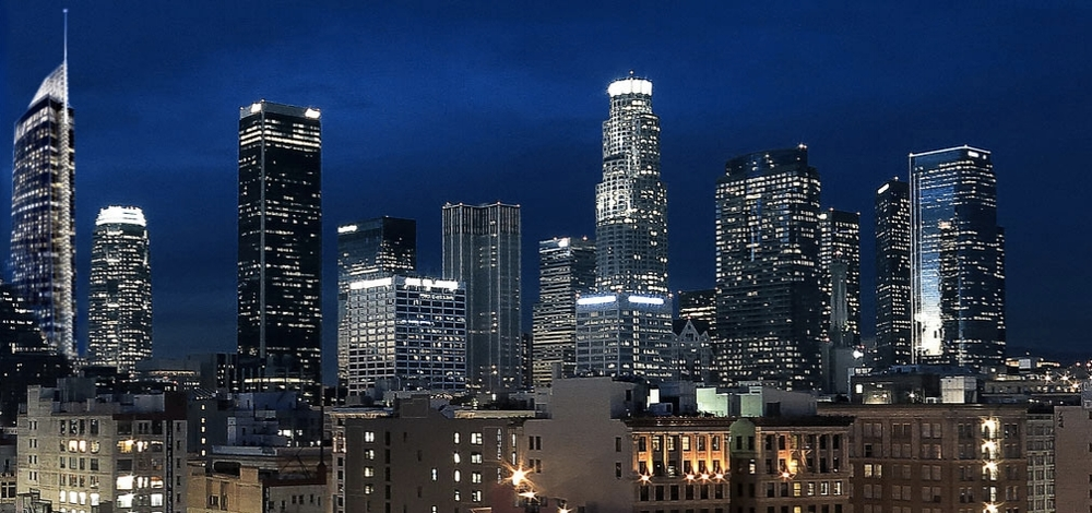 Wilshire Grand, at left and below, will be the tallest tower West of the Mississippi when it opens next spring. (AC Martin)