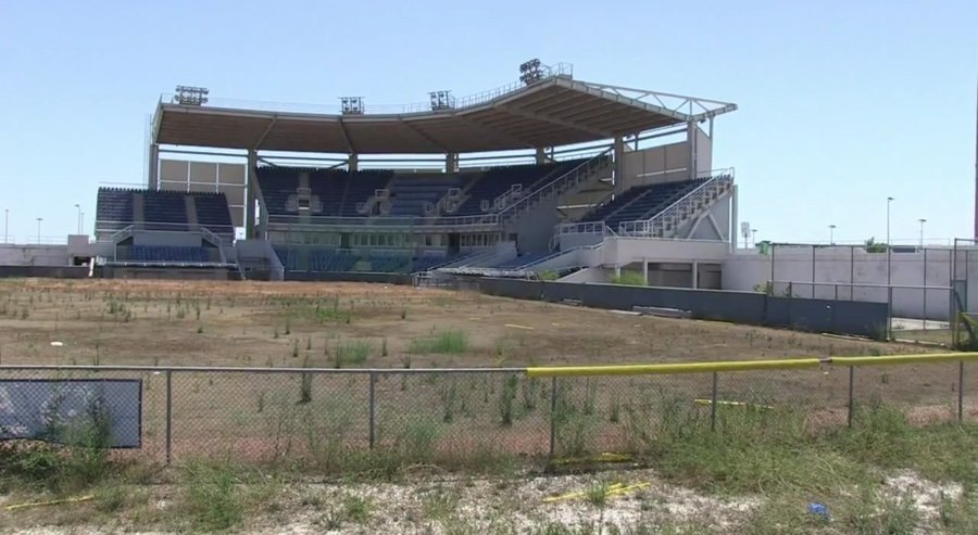 One of Athens's white elephants -- the Olympic Softball Stadium from 2004 Summer Games. (AFP News Agency, 2012)