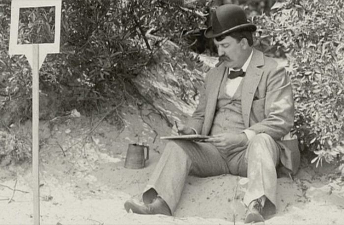 Burnham at rest? 'Business casual' had not yet been invented when the famous birthday boy was plying his trade.