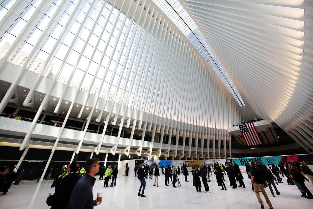 PATH Portal: Open since March, the spectacular Oculus train station beside 1WTC doubles daily as an inspiring symbol.