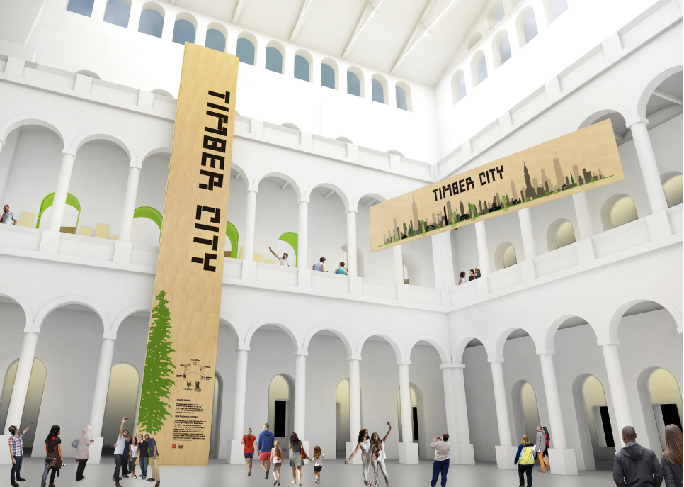 National Building Museum: Timber City exhibit opens this week in Washington, designed by Boston-based architect ikd. Funded by the USDA Forest Service and the Softwood Lumber Board, it examines the ongoing global boom in such projects.