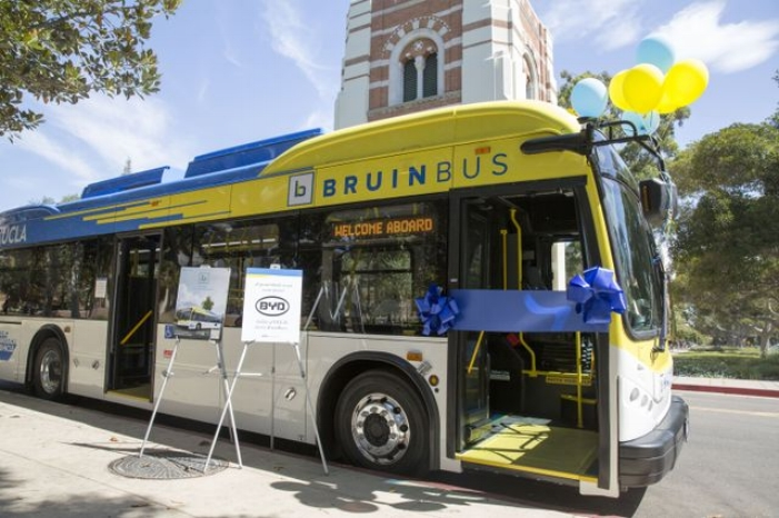 Just last week, UCLA became the first public university in California to use only electric buses, when two zero-emissions electric vehicles replaced the University's last diesel buses in the BruinBus transit fleet. (Photo: UCLA Newsroom)