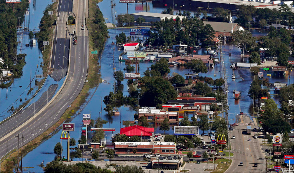 Record washed away: Lumberton NC flooded after the local river rose 2 ft higher than its previous record level. (AP)