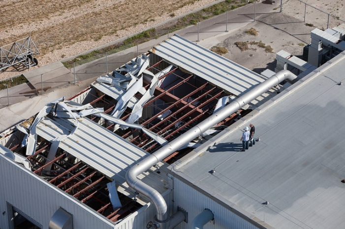 NASA's Kennedy Space Center in Florida last week suffered damage to this support building roof, and other facilities.
